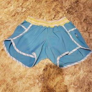 Lululemon shorts. Blue with yellow size 4